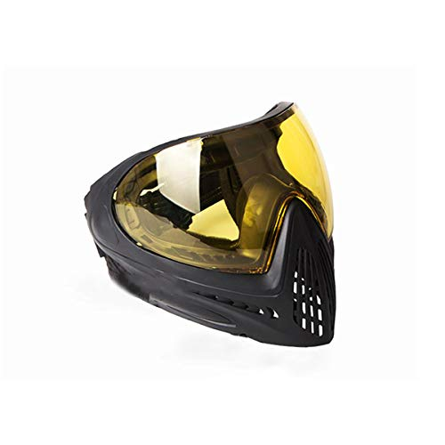 FMA F1 Paintball Airsoft Bike Safety Anti-Fog Goggle/Full Single Layer Face Mask Hunting (Negro Puro, Amarillo)