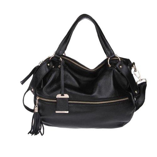 Hot Sale Fineplus Women's Tassel Zipper Shoulder Strap Handbag Black
