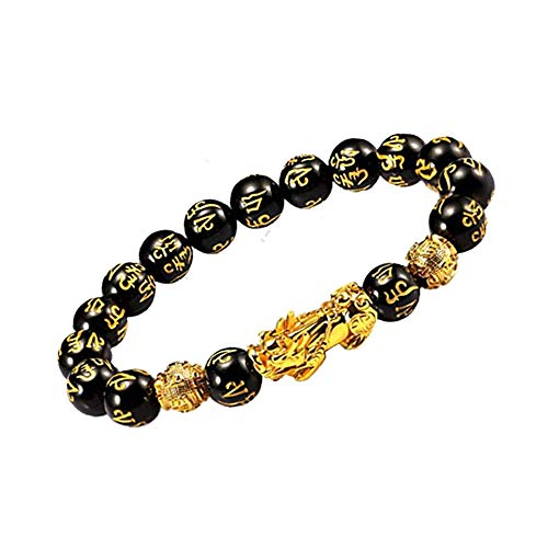UEUC Feng Shui Good Luck Bracelet for Men&Women,Hand Carved Mantra Amulet Bead Wealth Bracelet with Gold Plated Pi Xiu/Pi Yao