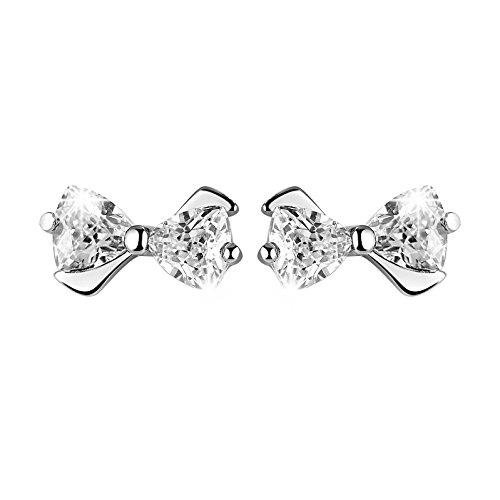 Guangcailun Pendientes de Cristal Bowknot Plateado Zirconia Stud Pendientes de Las Mujeres Brillante Linda