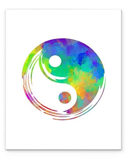 Ying Yang Meditation Wall Art Print 11x14, Unframed Watercolor Style Tao Symbol, Perfect Gift for Yoga, Zen and Meditation Studio