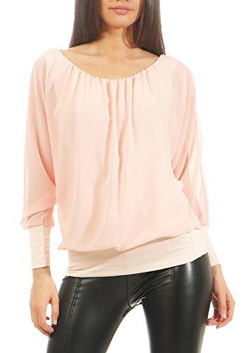 Malito Damen Chiffon Langarm Bluse   Tunika mit weiten Ärmeln   Blusenshirt mit breitem Bund   elegant - schick 6291 (rosa)