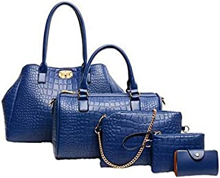 Five-piece dark blue handbag shoulder bag Messenger bag crocodile pattern handbag