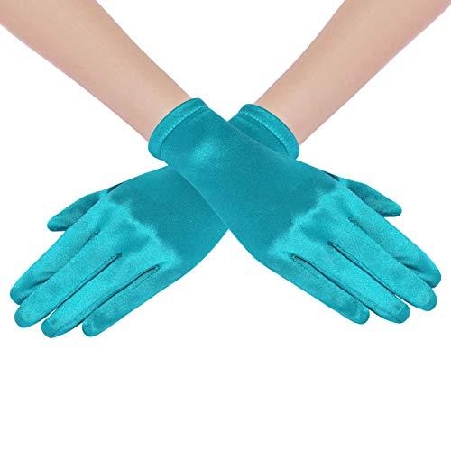 Coucoland Damen Handschuhe Satin Classic Opera Fest Party Audrey Hepburn Handschuhe 1920s Handschuhe Damen Lang Kurz Elastisch (Malachitgrün/22cm)