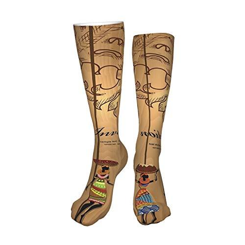 ZVEZVI Africa Girl On Wood For Your Design Calcetines de compresión para mujeres y hombres, ideales para correr, médicos, deportes atléticos, viajes en avión, embarazo, 19,8 pulgadas