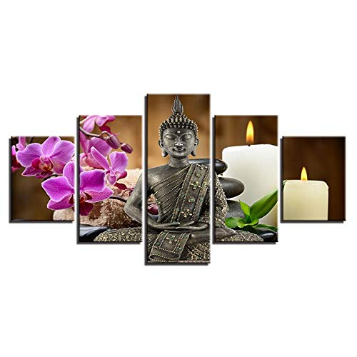 Dyldzzb Modular Wall Art Pictures Canvas HD Printed Canvas HD Prints Pictures Home Decor 5 Pieces Buddha Zen Paintings Moth Orchid Candle Posters For Living Room Wall Art 200 * 100cm