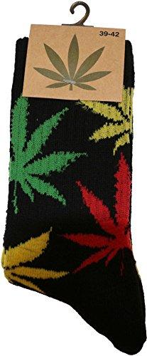 socksPur HANF SOCKEN - FREIZEIT & SPORT für DAMEN & HERREN ((39-42, schwarz-Jamaika)