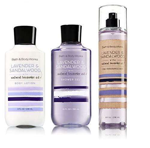 Bath and Body Works LAVENDER & SANDALWOOD New Daily Trio Gift Set - Body Lotion ~ Fragrance Mist ~ Shower Gel - Full Size