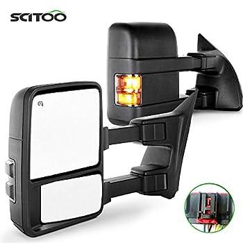 Towing Mirror for Ford for F250 for F350 for F450 for F550 Super Duty Power Heated Driver and Passenger Side Mirror Smoke Turn Signal Lights Mirror 2008 2009 2010 2011 2012 2013 2014 2015 2016