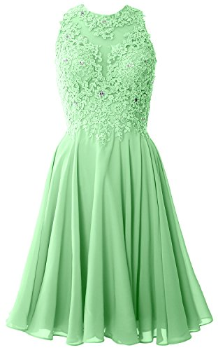 MACloth Women Short Lace High Neck Wedding Guest Party Dress Homecoming Gown (42, Mint)