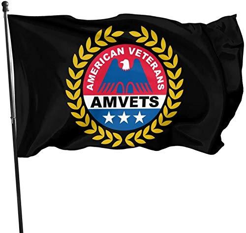 BUSHUO American Veterans Amvets Garden Flags Home Outdoor Artificial Decorative Flag 3x5 Ft