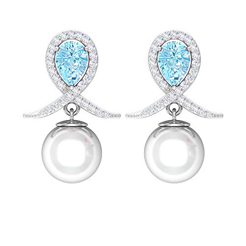 Pendientes de gota de perlas de agua dulce de 8 mm, pendientes de perlas de agua dulce, pendientes de tuerca de aguamarina azul