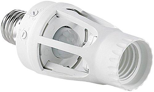 Electraline 58309 Portalampada (Base Lampadina E27) con Sensore Crepuscolare e di Movimento, Bianco
