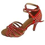 Womens Latin Ballroom Dance Shoe Open Toe Salsa Shoe Soft Sole Socials Party Professtional Dancing Sandals with Rhinestones (Red 8.5cm Heel, Numeric_12)
