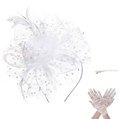 SAFERIN Fascinator Hair Clip Pillbox Hat Bowler Feather Flower Veil Wedding Party Hat Tea Hat (TA7-White)