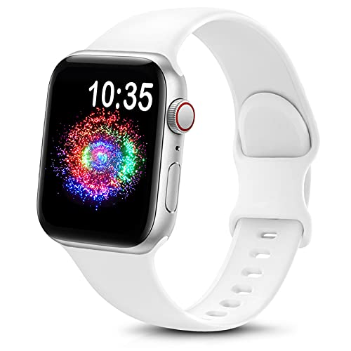 TreasureMax Sport Band Compatible with Apple Watch Bands 38mm 40mm 42mm 44mm, Soft Silicone Replacement Strap Compatible for Apple Watch Series 6 5 4 3 2 1 SE Men Women White 42MM/44MM