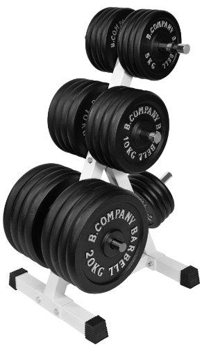 Bad Company Deluxe Hantelscheibenständer I 7 Scheibenaufnahmen für Gewichtsscheiben I Max. Tragkraft 350 Kg – Weiß I BCA-15