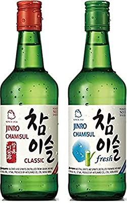 Jinro Chamisul Soju Duo pack - Classic 350ml alc 20.1% and Fresh 350ml 17.8% alc