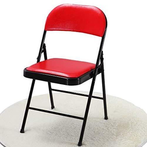 CCSUN Tragbarer Metall-klappstuhl, Gepolsterte Pu Leder Stoff Sitz Rücken Stuhl Esszimmer Stuhl Büro Hocker-rot H45cm(18inch)