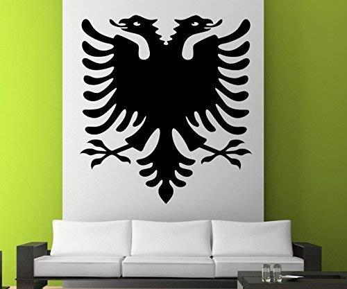 Wandtattoo XXL bis 120cm Albanischer Adler gross Wand Aufkleber Albanien Shqiponjë Wandaufkleber Auto Wandbild 3E024, Hohe:120cm;Farbe XXL:Schwarz Matt