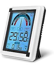 yidenguk digitale indoor hygrometer thermometer, LCD-touchscreen thermometer Monitor met achtergrondverlichting, MIN & MAX-records, wandmontage, tafelbladhouder en magneet voor slaapkamer/keuken
