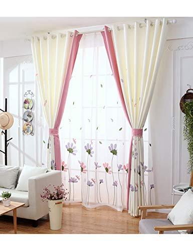 Lactraum Vorhänge Wohnzimmer Transparent Weiß mit Ösen Bestickt Blumen Common Cosmos und Libelle Voile 145 x 245 cm
