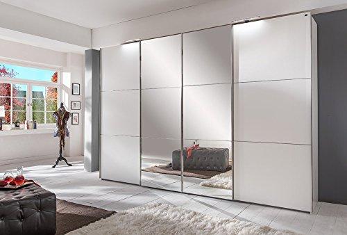 lifestyle4living Schwebetürenschrank in weiß, 2 Synchron-Spiegel-Türen, 300cm | Hochwertiger Kleiderschrank mit 4 Schwebetüren, Einlegeböden & Kleiderstangen