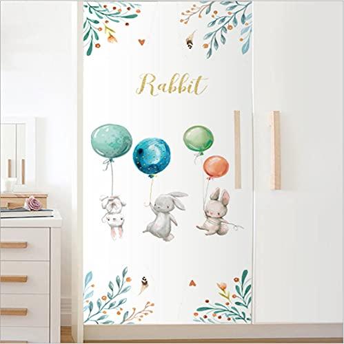 Pintado a mano conejo globo simulación animal puerta pegatinas armario puerta corredera refrigerador renovación pegatinas impermeable autoadhesivo pegatinas de pared