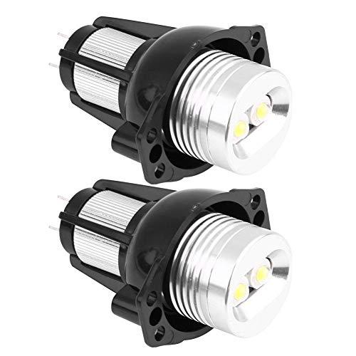 KIMISS Luz LED antiniebla, 2 luces LED de 12 V 12 W con ojos de ángel, luces de marcador, para E90 E91 05-08 6000 K