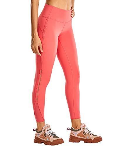 CRZ YOGA Mujer Naked Feeling Cintura Alta Leggings Yoga Pantalones Deportivos con Malla-63cm Ladrillo Rosa New1 40