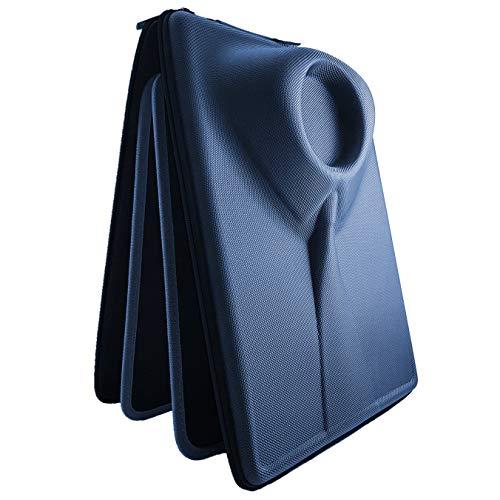 Packshi® - Reiseetui mit harter Hülle für HEMDEN mit doppelseitigem Klapp-Pad. Das EINZIGE wirklich faltenfreie/knitterfest Packen. Ein sehr elegantes Geschenk, Business Zubehörtei (Marineblau) +BONUS