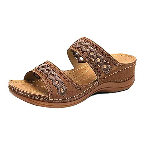 keleiesXD Zapatos de cuña de Verano para Mujer, Sandalias con Punta Abierta, Punta Suave, Deslizamiento en la Cama para Caminar para la Vida Diaria fit