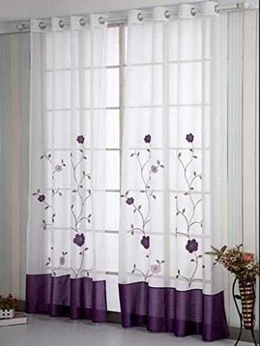 SIMPVALE 2 Piezas Cortinas Visillos Bordado Floral Translucida de Dormitorio Moderno Ventana Cortina Paneles con Ojales para Balcon, Salón, Habitación y Cámara, 140x245cm, Púrpura