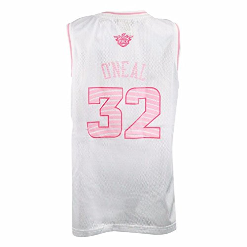 adidas Shaquille O'Neal Phoenix Suns NBA White Official Fan Fashion Pink Basketball Jersey for Girls (M)