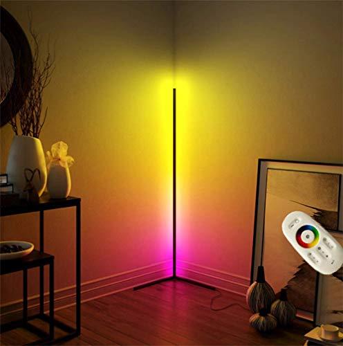 JINGBO LED Stehlampe Dimmbar mit Fernbedienung 20W Stehleuchte Leselicht für Wohnzimmer Schlafzimmer Farbwechsel Lichtsaeule RGB Farbtemperaturen und Helligkeit Stufenlos Dimmbar,Schwarz