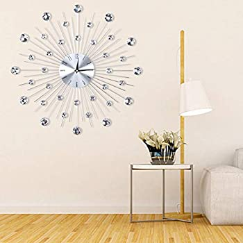 Pbzydu Sparkling Silver Wall Clock Bling Metallic Silver Wall Clock Time Decoration for Read Home Office Classroom School Bar Silver