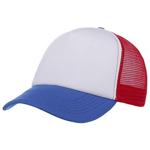 Tricoloured Rapper Cap Trucker Cap Mesh Cap (One Size - Blue)