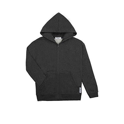 AMERICLOUD Kids Zip Up Hoodie Sprot Jacket Basic Soft Brushed Fleece Full Zip Hooded Sweatshirts for Boys or Girls 3-12 Years (Dark Gray-XL)