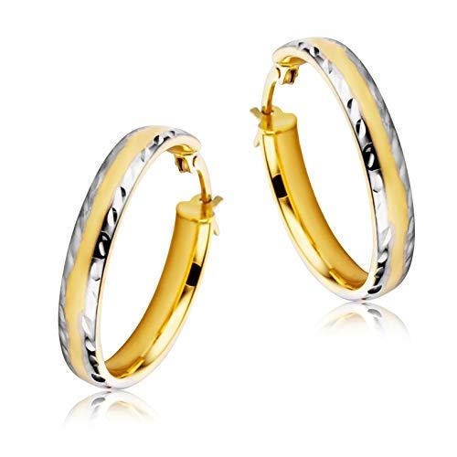 Miore Ohrringe Damen Creolen Bicolor aus Gelbgold und Weißgold 9 Karat / 375 Gold, Ohrschmuck