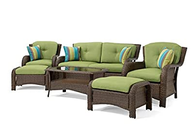 La-Z-Boy Outdoor 6 Piece Wicker Sawyer Deep Seating Set, Green