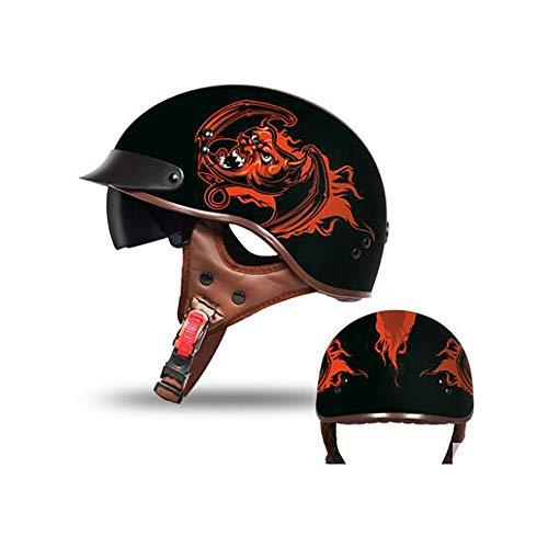 LXXL Mezzi caschi da Motociclista con Occhiali,Casco Jet Moto Scooter Motorino Chopper /· Casco Moto Donna e Uomo Demi Jet Vintage /· Omologato DOT