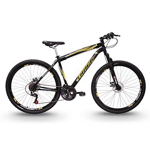 Bicicleta Aro 29 TB Niner Preta e Amarela Aço 21v MTB Aero Freio a Disco, Track Bikes