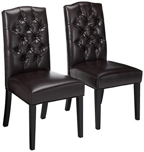 Christopher Knight Home Clark Crown Top Leather Tufted Dining Chairs, 2-Pcs Set, Brown