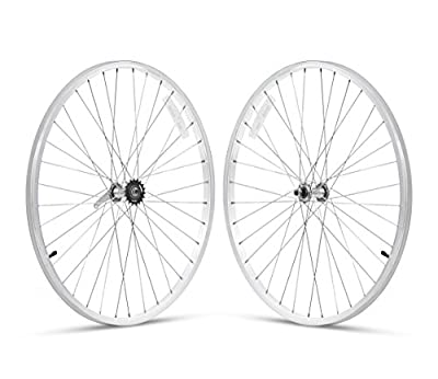 """Firmstrong 1-Speed Beach Cruiser Bicycle Wheelset, Front/Rear, White, 26"""""""