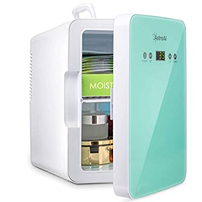 AstroAI Mini Fridge 6 Liter/8 Can Skincare Fridge for Bedroom - with Upgraded Temperature Control Panel - AC/12V DC Thermoelectric Portable Cooler and Warmer for Skin Care, Medications (Teal)