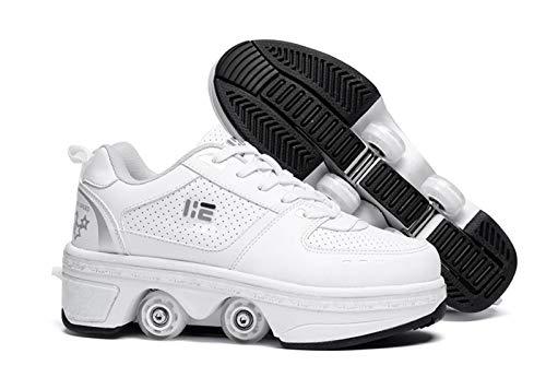 Olaffi Polea Zapatos de Deformación - Botas Zapatos de Deformación, Zapatos con Ruedas Zapatillas de Skate - para Regalo Unisex para Principiantes,Blanco,39EU/UK5.5
