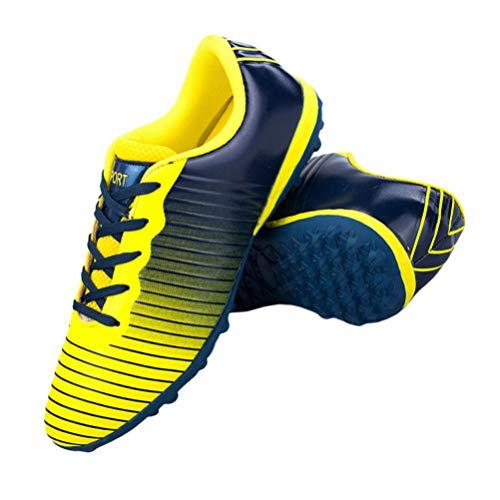 Holibanna Zapatos de Fútbol Zapatos de Fútbol Antideslizantes Calzado de Entrenamiento Deportivo Profesional(Azul Oscuro Amarillo- Talla 31)