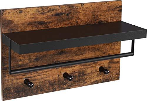 VASAGLE | Wand-Garderobe im Industrial Design, Vintage mit 3 Haken, Stange und Ablage 40 x 60 x 21,5 cm | Holz/Schwarz