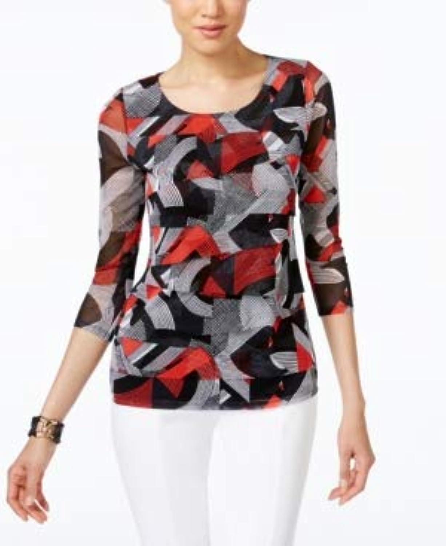 Alfani Womens Petites Tiered Geometric Blouse Red PS