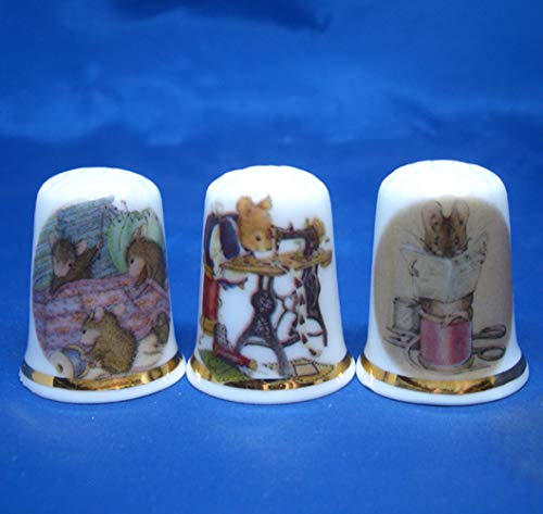 Best Prices! Birchcroft Porcelain China Collectable - Set of Three Thimbles - Sewing Mice